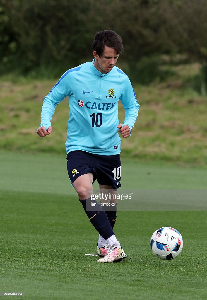 Robbie Kruse during an Australia National football team training session at The Academy of Light on May 24, 2016 in Sunderland, England.