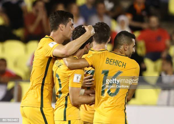 Robbie Kruse of Australia celebrates after scoring a goal during the 2018 FIFA World Cup Asian Playoff match between Syria and the Australia...