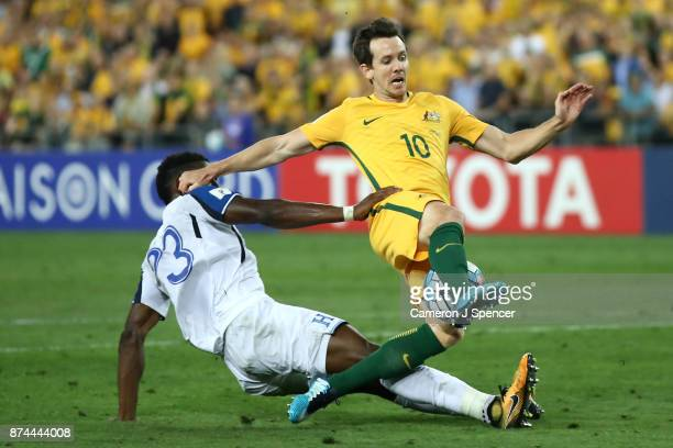 Robbie Kruse of Australia is tackled during the 2018 FIFA World Cup Qualifiers Leg 2 match between the Australian Socceroos and Honduras at ANZ...