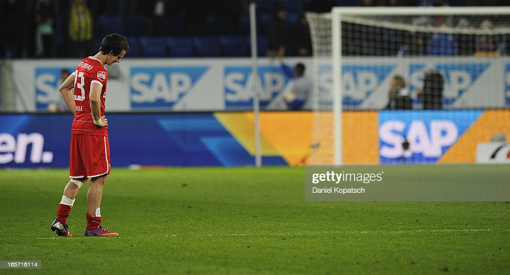 Robbie Kruse of Duesseldorf reacts after the Bundesliga match between TSG 1899 Hoffenheim and Fortuna Duesseldorf 1895 at Rhein-Neckar-Arena on April 5, 2013 in Sinsheim, Germany.