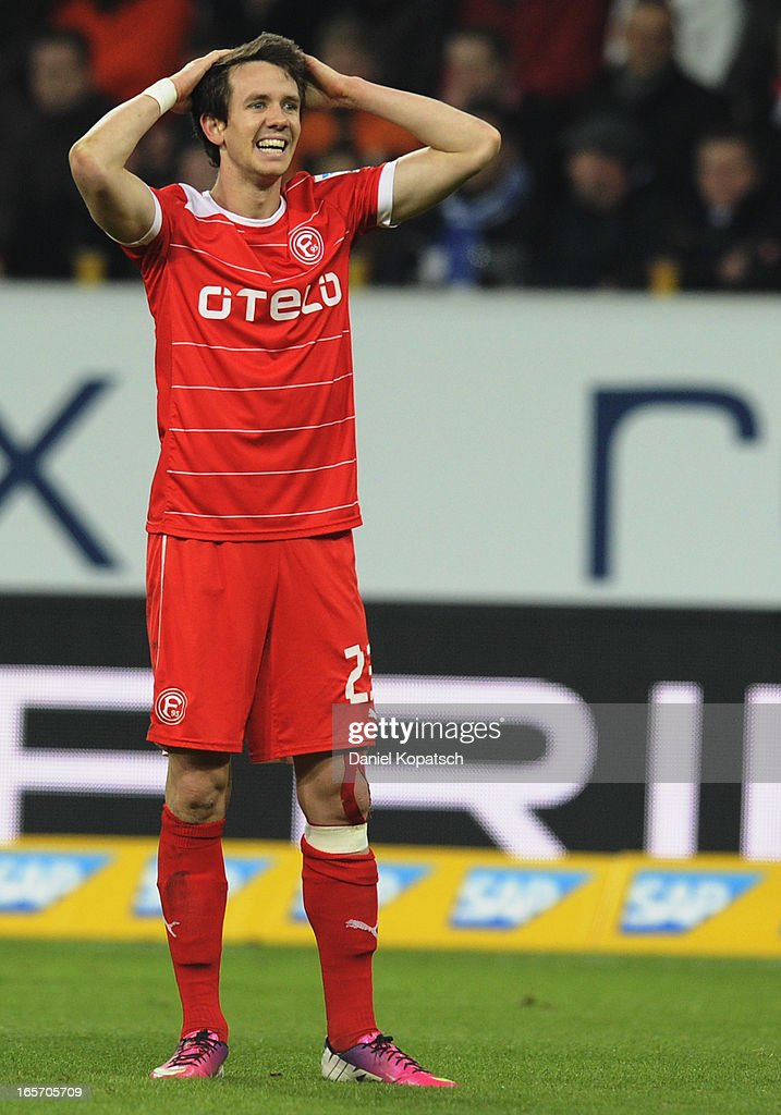 Robbie Kruse of Duesseldorf reacts during the Bundesliga match between TSG 1899 Hoffenheim and Fortuna Duesseldorf 1895 at Rhein-Neckar-Arena on April 5, 2013 in Sinsheim, Germany.