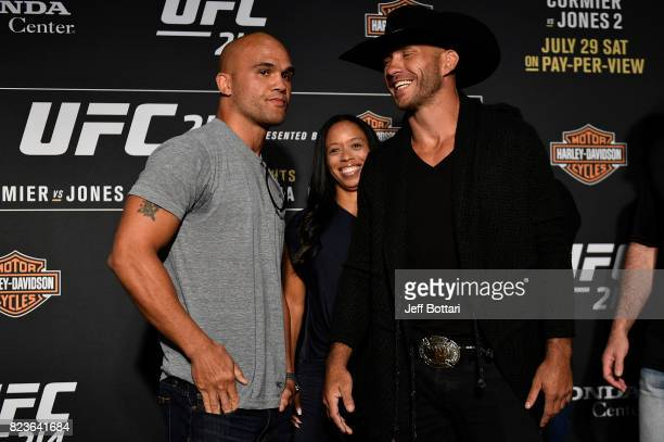 Robbie Lawler and Donald Cerrone face off for the media during the UFC 214 Ultimate Media Day at UFC GYM La Mirada on July 27 2017 in La Mirada...