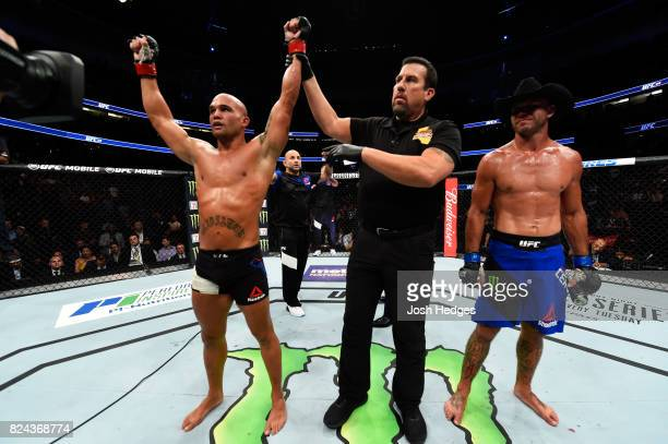 Robbie Lawler celebrates his defeat of Donald Cerrone in their welterweight bout during the UFC 214 event at Honda Center on July 29 2017 in Anaheim...