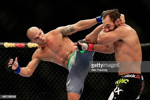 Robbie Lawler kicks Johny Hendricks in their welterweight title fight during the UFC 181 event at the Mandalay Bay Events Center on December 6 2014...