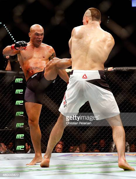 Robbie Lawler kicks Rory MacDonald in their UFC welterweight title fight during the UFC 189 event inside MGM Grand Garden Arena on July 11 2015 in...
