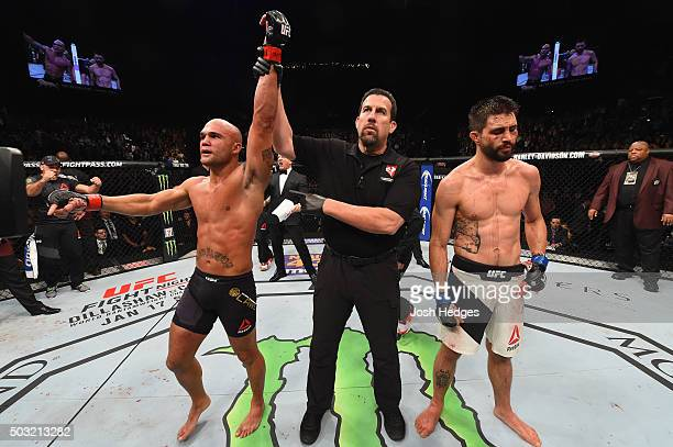 Robbie Lawler reacts to his victory over Carlos Condit in their UFC welterweight championship bout during the UFC 195 event inside MGM Grand Garden...