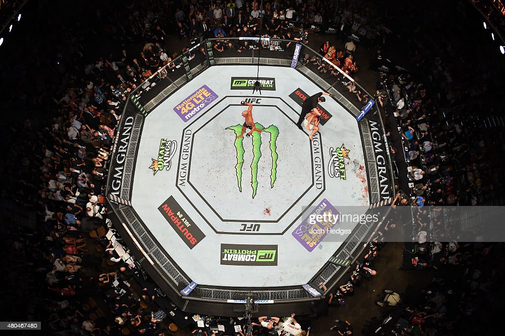 Robbie Lawler reacts to his victory over Rory MacDonald in their UFC welterweight title fight during the UFC 189 event inside MGM Grand Garden Arena on July 11, 2015 in Las Vegas, Nevada.
