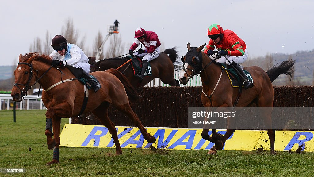 Robbie Macnamara on Becauseicouldntsee (L) leads eventual winner Ryan Hatch on Same Difference in the Fulke Walwyn Kim Muir Challenge Cup Handicap Chase on St Patrick's Thursday at Cheltenham Racecourse on March 14, 2013 in Cheltenham, England.