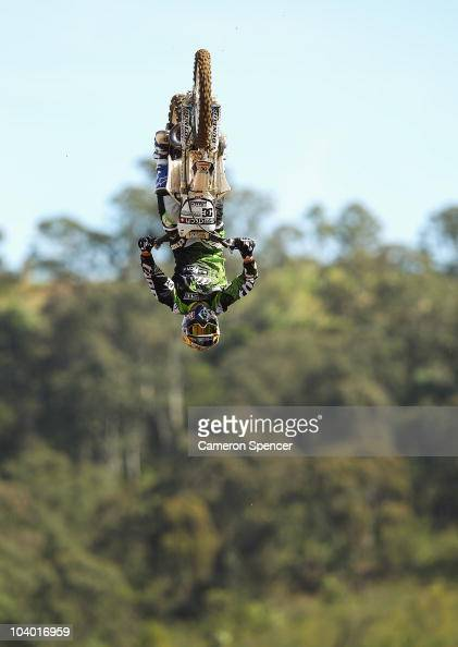 Robbie Maddison of Australia in action during the Red Bull XRAY freestyle motocross competition at Razorback Ridge Picton on on September 12 2010 in...