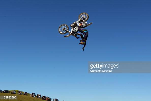 Robbie Maddison of Australia performs an air during qualifying for the Red Bull XRAY freestyle motocross competition at Razorback Ridge Picton on on...