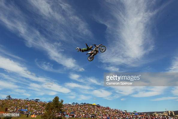 Robbie Maddison of Australia performs an air during the final of the Red Bull XRAY freestyle motocross competition at Razorback Ridge Picton on on...