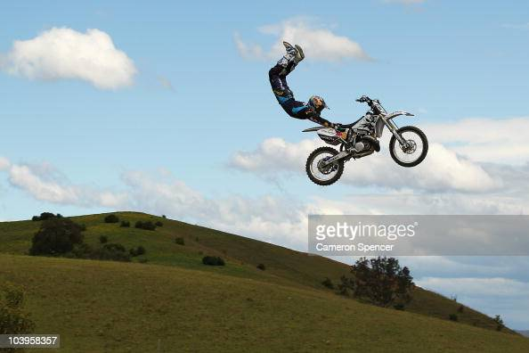 Robbie Maddison of Australia performs an air during the practice day for the Red Bull XRAY freestyle motocross competition at Razorback Ridge Picton...