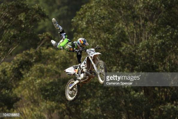 Robbie Maddison of Australia performs an air in the 'Speed and Style' race during the Red Bull XRAY freestyle motocross competition at Razorback...