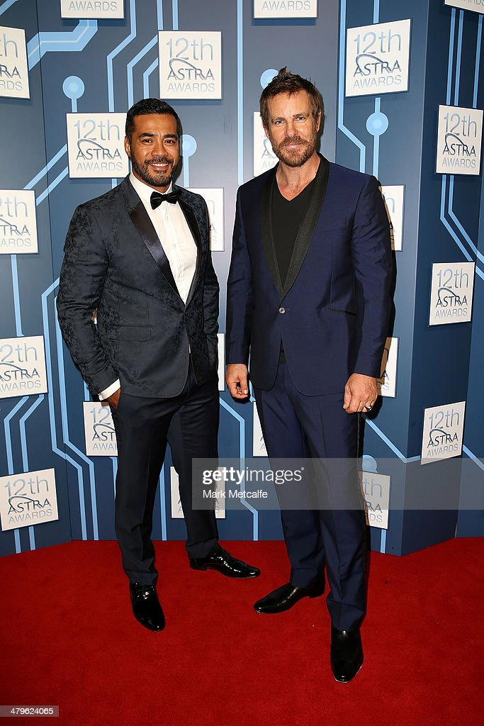 Robbie Magisiva and Aaron Jeffery arrive at the 12th ASTRA Awards at Carriageworks on March 20, 2014 in Sydney, Australia.