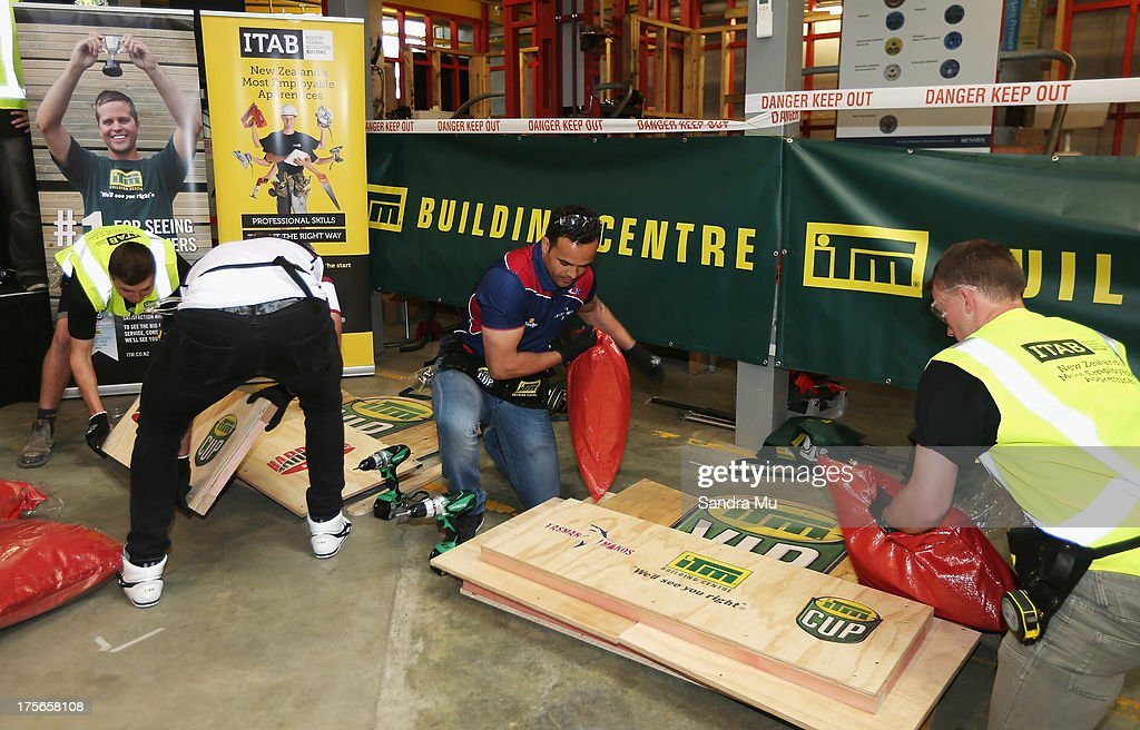 Robbie Malneek of Tasman competes in a challenge to build a fan seat during the 2013 launch of the ITM Cup at Unitec on August 6, 2013 in Auckland, New Zealand.