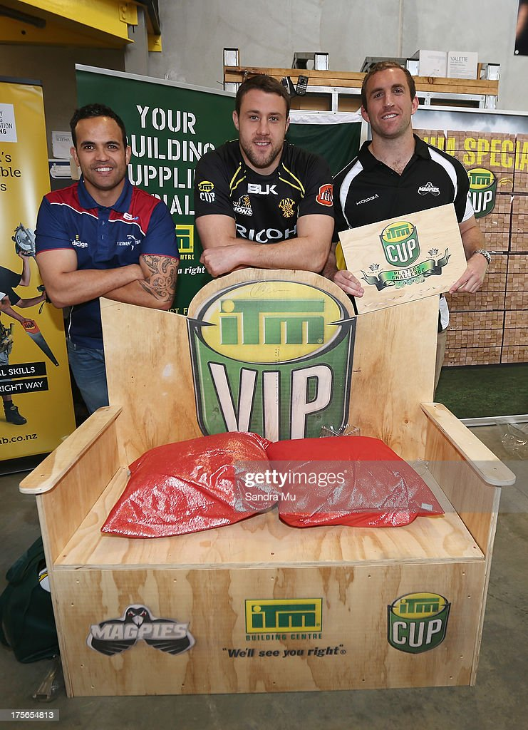 Robbie Malneek of Tasman, Jeremy Thrush of Wellington and Mike Coman of Hawkes Bay pose with the challenge finished product during the 2013 launch of the ITM Cup at Unitec on August 6, 2013 in Auckland, New Zealand.