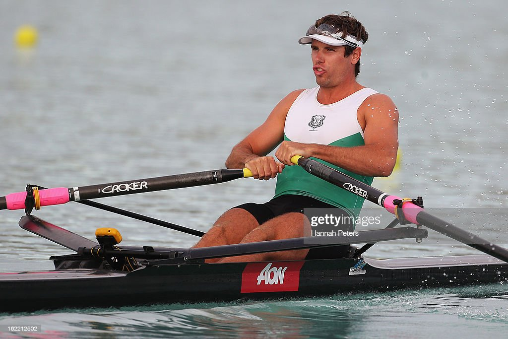 Robbie Manson of Central competes in the Men's Premier 1X semifinal during day three of the New Zealand Rowing Championships at Lake Ruataniwha on February 21, 2013 in Wellington, New Zealand.