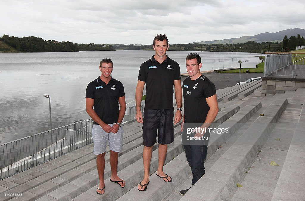 Robbie Manson, Sean O'Neil and Joseph Sullivan pose during a press conference to announce the New Zealand 2012 rowing team at Lake Karapiro on March 2, 2012 in Cambridge, New Zealand.