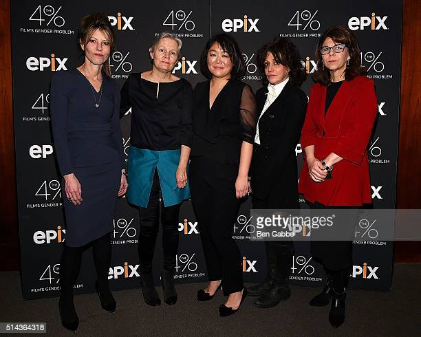 Robbie Myers Mary Harron Caroline Suh Amy Heckerling and Dr Stacy Smith attend 'The 4% Film's Gender Problem' New York Premiere at the Museum of Art...