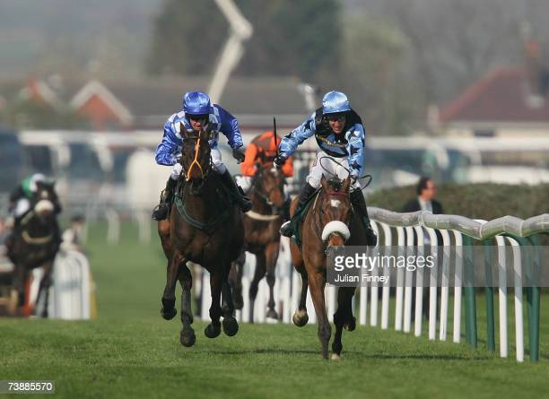 Robbie Power and Silver Birch with noseband to winning the 2007 John Smiths Grand National at Aintree Racecourse on April 14 2007 in Aintree England