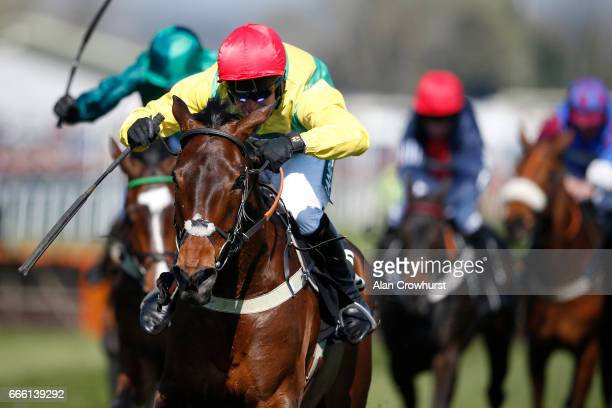 Robbie Power riding Finian's Oscar clear the last to win The Betway Mersey Novices' Hurdle Race at Aintree Racecourse on April 8 2017 in Liverpool...