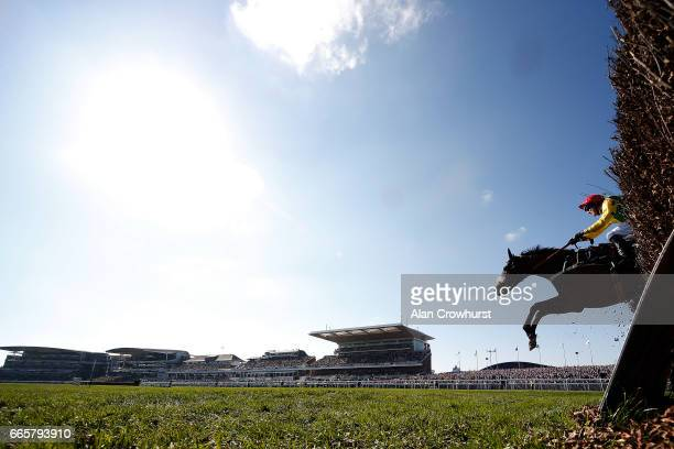 Robbie Power riding Fox Norton clear the last to win The JLT Melling Steeple Chase at Aintree Racecourse on April 7 2017 in Liverpool England
