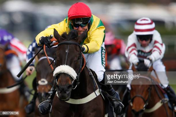 Robbie Power riding Pingshou clear the last to win The Crabbieâs Top Novicesâ Hurdle Race at Aintree Racecourse on April 7 2017 in Liverpool England