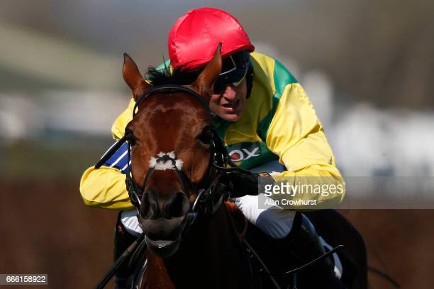 Robbie Power riding Sizing Codelco clear the last to win The Betway Handicap Steeple Chase at Aintree Racecourse on April 8 2017 in Liverpool England