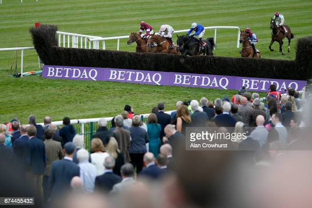 Robbie Power riding Woodland Opera clear the last to win The EMS Copiers Novice Handicap Steeplechase at Punchestown racecourse on April 28 2017 in...