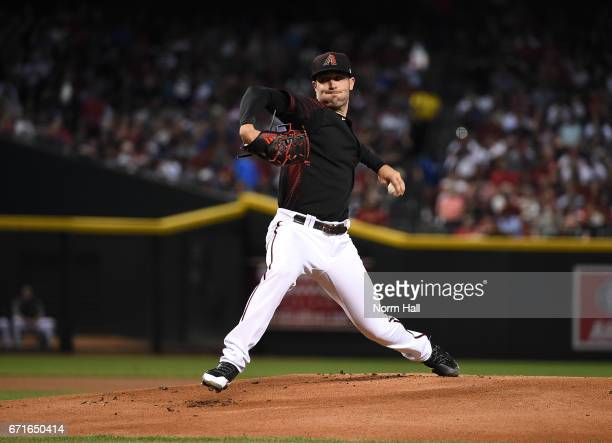 Robbie Ray of the Arizona Diamondbacks delivers a first inning pitch against the Los Angeles Dodgers at Chase Field on April 22 2017 in Phoenix...