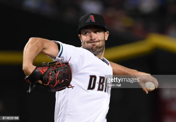 Robbie Ray of the Arizona Diamondbacks delivers a first inning pitch against the Colorado Rockies at Chase Field on April 28 2017 in Phoenix Arizona