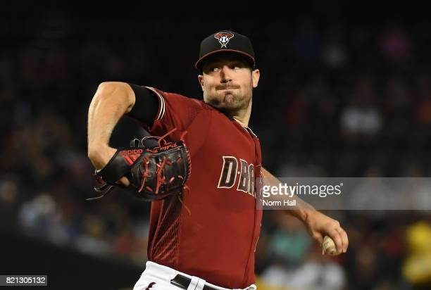 Robbie Ray of the Arizona Diamondbacks delivers a first inning pitch against the Washington Nationals at Chase Field on July 23 2017 in Phoenix...