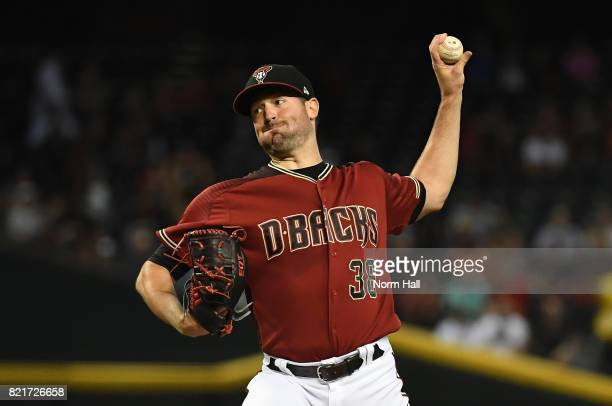 Robbie Ray of the Arizona Diamondbacks delivers a pitch against the Washington Nationals at Chase Field on July 23 2017 in Phoenix Arizona