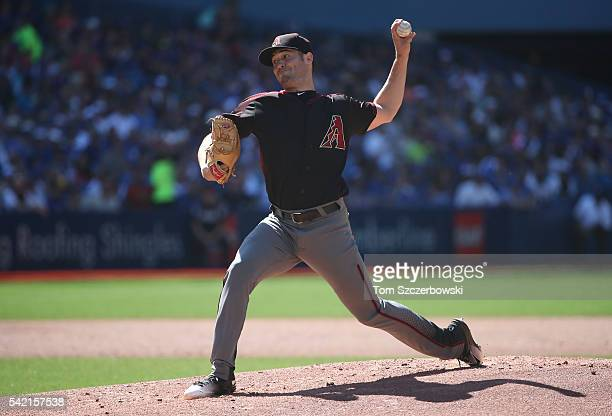Robbie Ray of the Arizona Diamondbacks delivers a pitch in the first inning during MLB game action against the Toronto Blue Jays on June 22 2016 at...