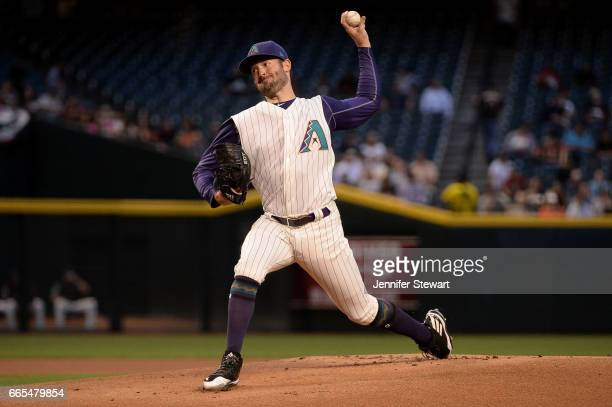 Robbie Ray of the Arizona Diamondbacks delivers a pitch in the first inning against the San Francisco Giants at Chase Field on April 6 2017 in...