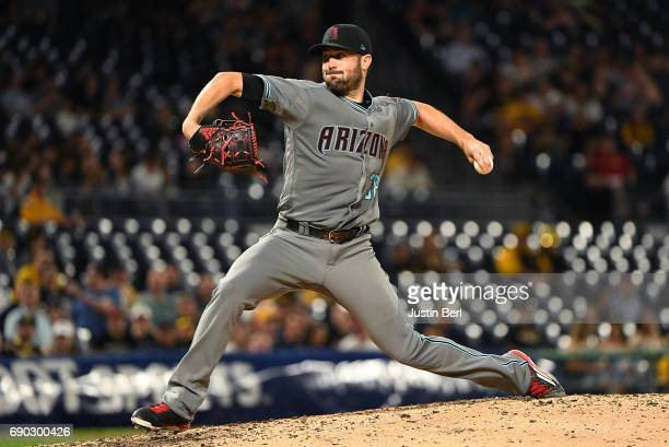 Robbie Ray of the Arizona Diamondbacks delivers a pitch in the ninth inning during the game against the Pittsburgh Pirates at PNC Park on May 30 2017...