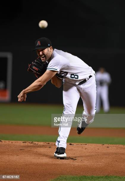 Robbie Ray of the Arizona Diamondbacks delivers a warm up pitch prior to a game against the Colorado Rockies at Chase Field on April 28 2017 in...