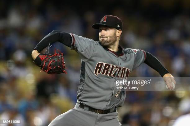 Robbie Ray of the Arizona Diamondbacks during the second inning of a game against the Los Angeles Dodgers at Dodger Stadium on April 17 2017 in Los...