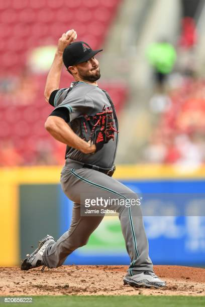 Robbie Ray of the Arizona Diamondbacks pitches against the Cincinnati Reds at Great American Ball Park on July 18 2017 in Cincinnati Ohio