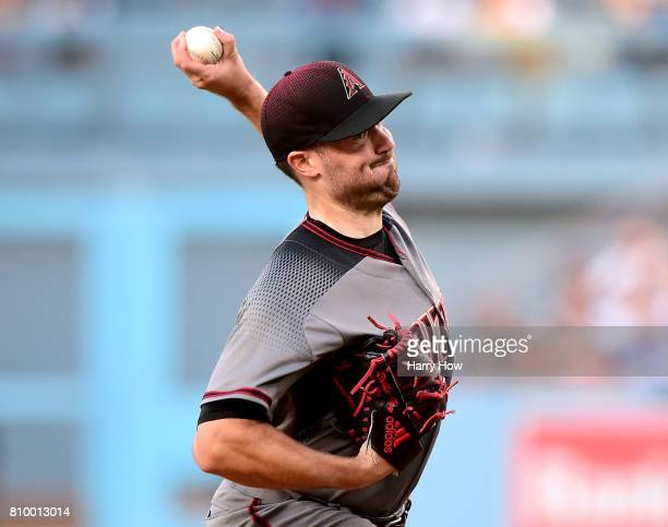 Robbie Ray of the Arizona Diamondbacks pitches against the Los Angeles Dodgers during the first inning at Dodger Stadium on July 6 2017 in Los...