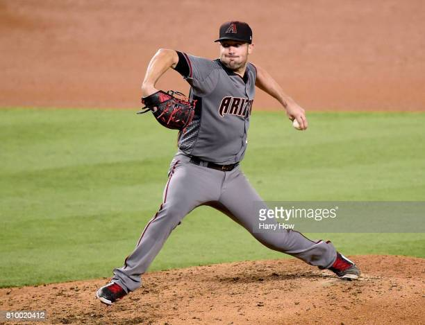 Robbie Ray of the Arizona Diamondbacks pitches against the Los Angeles Dodgers during the sixth inning at Dodger Stadium on July 6 2017 in Los...