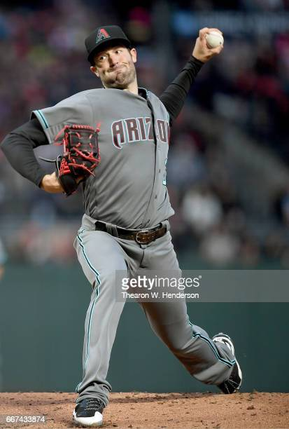 Robbie Ray of the Arizona Diamondbacks pitches against the San Francisco Giants in the bottom of the first inning at ATT Park on April 11 2017 in San...