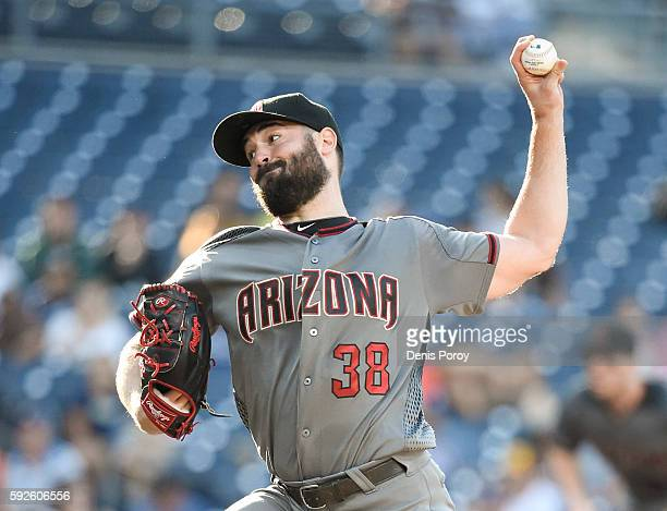 Robbie Ray of the Arizona Diamondbacks pitches during the first inning of a baseball game against the San Diego Padres at PETCO Park on August 20...
