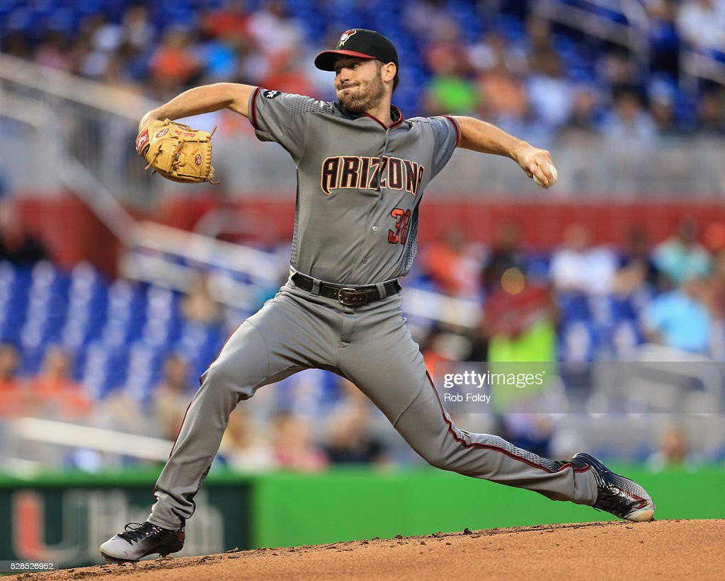Robbie Ray #38 of the Arizona Diamondbacks pitches during the second inning of the game against the Miami Marlins at Marlins Park on May 5, 2016 in Miami, Florida.