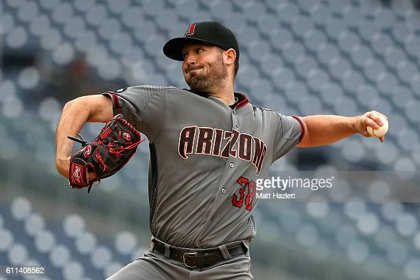 Robbie Ray of the Arizona Diamondbacks works in the first inning against the Washington Nationals at Nationals Park on September 29 2016 in...