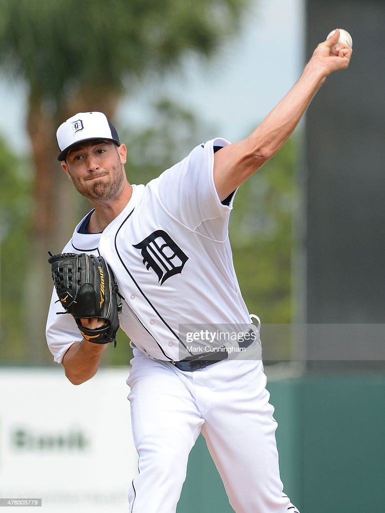 Robbie Ray #70 of the Detroit Tigers pitches during the spring training game against the Florida Southern College Moccasins at Joker Marchant Stadium on February 25, 2014 in Lakeland, Florida. The Tigers defeated the Moccasins 12-0.