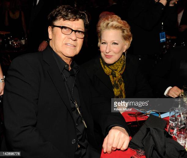 Robbie Robertson and Bette Midler attend the 27th Annual Rock And Roll Hall Of Fame Induction Ceremony at Public Hall on April 14 2012 in Cleveland...
