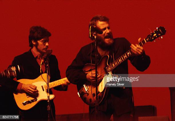 Robbie Robertson and Levon Helm of The Band performing in concert at Queens College New York January 9 1970