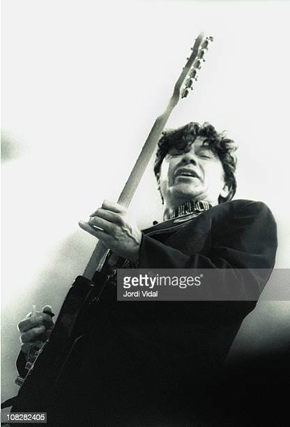 Robbie Robertson performs at Plaza de Toros Monumental on July 9 1992 in Barcelona Spain