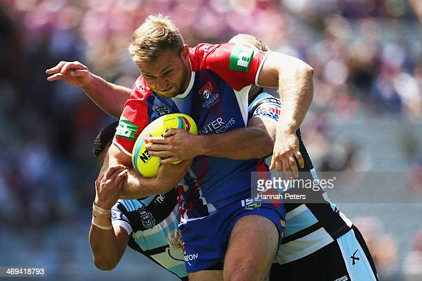 Robbie Rochow of the Knights charges forward during the match between Cronulla Sharks and the Newcastle Knights in the Auckland NRL Nines at Eden...